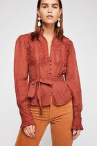 Free People Casual Style Long Sleeves Plain Shirts & Blouses