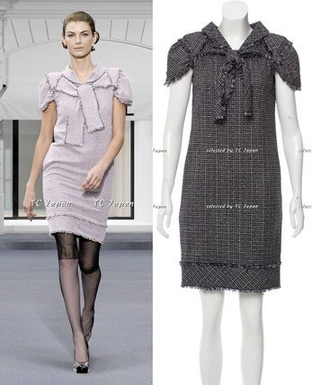CHANEL TIMELESS CLASSICS CHANEL Midnight  Blue Tweed Dress FR38