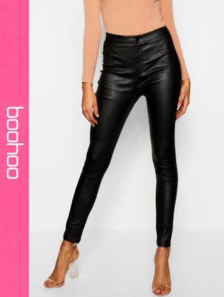 Casual Style Faux Fur Leather & Faux Leather Pants
