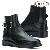 TOD'S Round Toe Rubber Sole Plain Leather Elegant Style