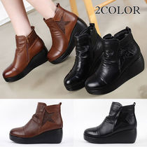 Star Platform Round Toe Street Style Plain Leather