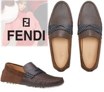 FENDI Monogram Driving Shoes Plain Toe Leather Loafers & Slip-ons