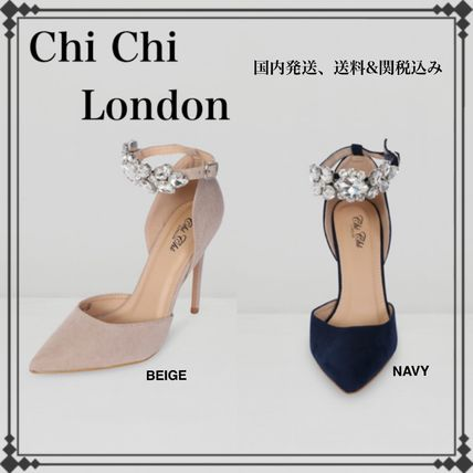Suede Plain Pin Heels With Jewels Stiletto Pumps & Mules