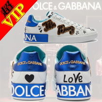 Dolce & Gabbana Unisex Street Style Bi-color Leather Sneakers