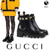 GUCCI Platform Plain Toe Leather Elegant Style