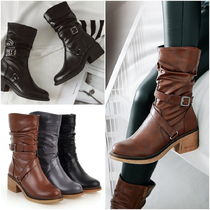 Cowboy Boots Round Toe Casual Style Faux Fur Street Style