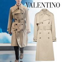 VALENTINO Unisex Plain Long Oversized Trench Coats