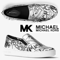 Michael Kors Round Toe Rubber Sole Casual Style Leather Slip-On Shoes