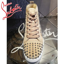 Christian Louboutin LOUIS Suede Studded Plain Sneakers