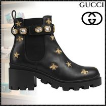 GUCCI Star Leather Block Heels With Jewels Elegant Style