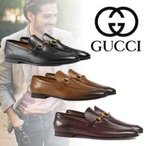 GUCCI Jordaan Plain Toe Moccasin Unisex Plain Leather Loafers & Slip-ons