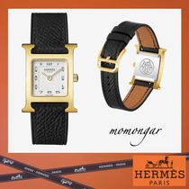 HERMES Unisex Leather Square Quartz Watches Elegant Style