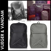 Vlieger & Vandam Casual Style Unisex Street Style A4 Plain Leather Backpacks