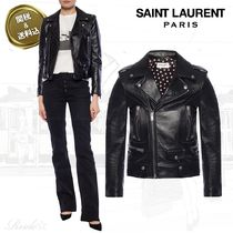Saint Laurent Short Star Plain Leather Biker Jackets