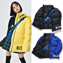 Born Champs Unisex Street Style Plain Medium Oversized Down Jackets