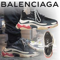 BALENCIAGA Triple S Blended Fabrics Street Style Bi-color Leather Oversized
