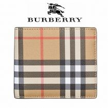 Burberry Other Check Patterns Leather Folding Wallets