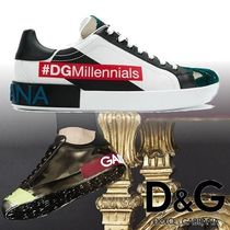 Dolce & Gabbana Unisex Street Style Leather Sneakers