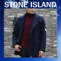 STONE ISLAND Wool Plain Peacoats Coats