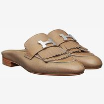 HERMES Plain Toe Blended Fabrics Plain Leather Block Heels Fringes