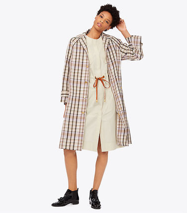Tory Burch Trench Other Check Patterns Elegant Style Trench Coats