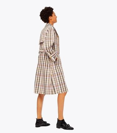 Tory Burch Trench Other Check Patterns Elegant Style Trench Coats 2