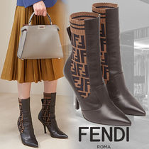FENDI Monogram Leather Ankle & Booties Boots