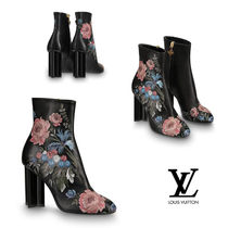 Louis Vuitton Flower Patterns Casual Style Leather Block Heels