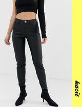 River Island Casual Style Faux Fur Leather & Faux Leather Pants