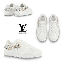 Louis Vuitton Round Toe Leather With Jewels Elegant Style Low-Top Sneakers
