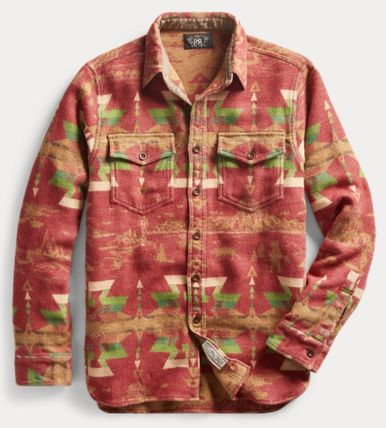 RRL Shirts Street Style Long Sleeves Cotton Tribal Surf Style Shirts 2