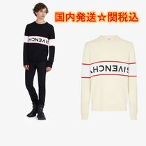 GIVENCHY Crew Neck Pullovers Unisex Street Style Long Sleeves Cotton