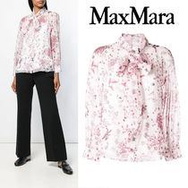 MaxMara Flower Patterns Silk Long Sleeves Medium Elegant Style