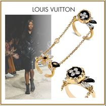 Louis Vuitton Flower Street Style Chain Brass With Jewels Elegant Style