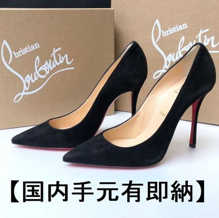 Suede Pin Heels Party Style Pointed Toe Pumps & Mules