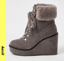River Island Casual Style Faux Fur Wedge Boots
