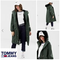 Tommy Hilfiger Casual Style Faux Fur Blended Fabrics Street Style Plain