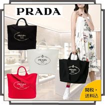 PRADA CANAPA Casual Style Canvas Blended Fabrics A4 2WAY Plain Totes