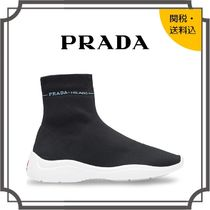 PRADA Round Toe Rubber Sole Casual Style Blended Fabrics