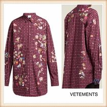 VETEMENTS Other Check Patterns Casual Style Long Sleeves Cotton Long