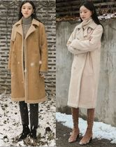 NAIN Fur Street Style Plain Long Fur Leather Jackets