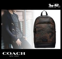 Coach SIGNATURE Camouflage Monogram Canvas Street Style Backpacks
