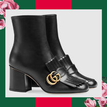 GUCCI Plain Toe Casual Style Plain Leather Block Heels Handmade