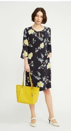 Flower Patterns Casual Style A-line Nylon U-Neck Cropped