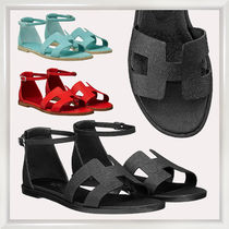 HERMES Casual Style Plain Leather Sandals