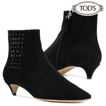 TOD'S Plain Leather Pin Heels Elegant Style Ankle & Booties Boots