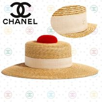 CHANEL Blended Fabrics Straw Boaters Straw Hats