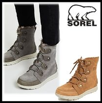 SOREL Open Toe Platform Casual Style Suede Blended Fabrics