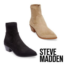 Steve Madden Casual Style Plain Chunky Heels Ankle & Booties Boots
