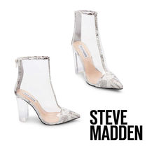 Steve Madden Casual Style PVC Clothing Chunky Heels Ankle & Booties Boots